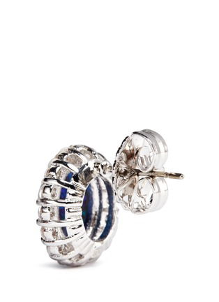 Detail View - Click To Enlarge - CZ by Kenneth Jay Lane - Opalescent cubic zirconia oval cabochon stud earrings