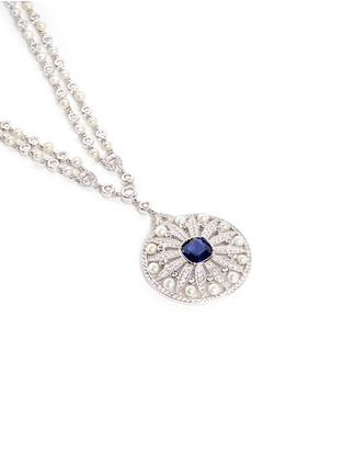 Detail View - Click To Enlarge - CZ by Kenneth Jay Lane - Cubic zirconia freshwater pearl floral pendant necklace
