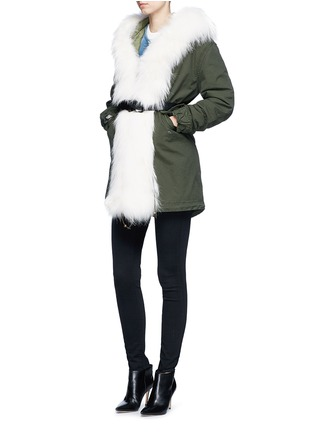 Figure View - Click To Enlarge - Mr & Mrs Italy - 'London Green' raccoon fur trim canvas parka