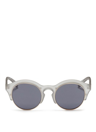 Main View - Click To Enlarge - SELF-PORTRAIT - x Le Specs 'Edition Five' half rim frosted acetate round sunglasses