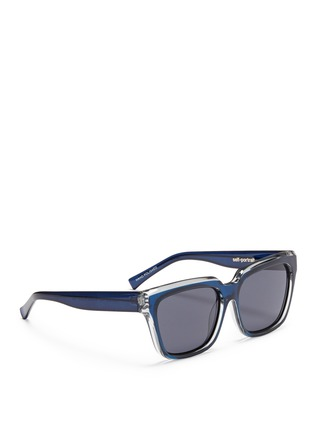 Figure View - Click To Enlarge - self-portrait - x Le Specs 'Edition Two' colourblock acetate square sunglasses
