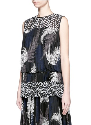 Front View - Click To Enlarge - Sacai - Botanical print open back pleat blouson top