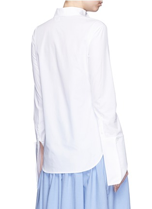 Back View - Click To Enlarge - Rosie Assoulin - Asymmetric French cuff chambray shirt