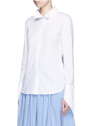 Front View - Click To Enlarge - Rosie Assoulin - Asymmetric French cuff chambray shirt
