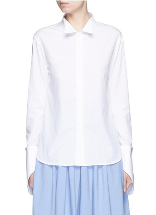 Main View - Click To Enlarge - Rosie Assoulin - Asymmetric French cuff chambray shirt