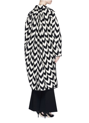 Back View - Click To Enlarge - Ms MIN - Chevron intarsia blanket wool oversize coat