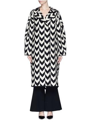 Main View - Click To Enlarge - Ms MIN - Chevron intarsia blanket wool oversize coat