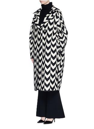 Figure View - Click To Enlarge - Ms MIN - Chevron intarsia blanket wool oversize coat
