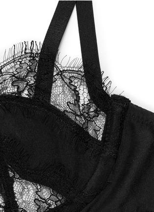 Detail View - Click To Enlarge - KIKI DE MONTPARNASSE - Lace inset silk balconette bra