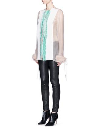 Front View - Click To Enlarge - Haider Ackermann - 'Dendi' mesh pleat silk organza shirt