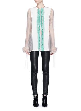Main View - Click To Enlarge - Haider Ackermann - 'Dendi' mesh pleat silk organza shirt