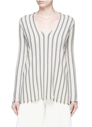 Main View - Click To Enlarge - Theory - 'Haydren' stripe V-neck sweater