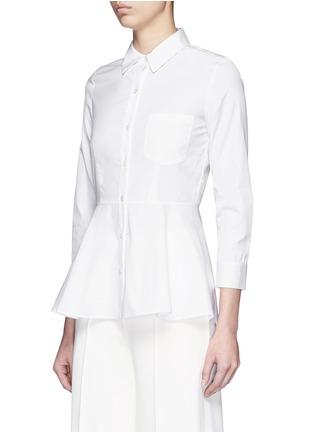 Front View - Click To Enlarge - Theory - 'Eyodis' peplum hem cotton poplin shirt