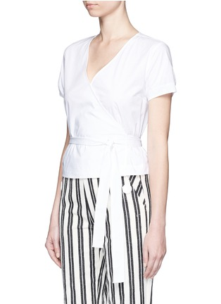 Front View - Click To Enlarge - Theory - 'Analice' cotton poplin wrap blouse