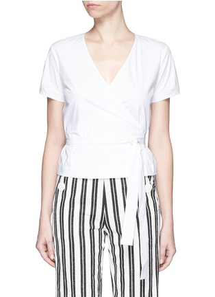 Main View - Click To Enlarge - Theory - 'Analice' cotton poplin wrap blouse