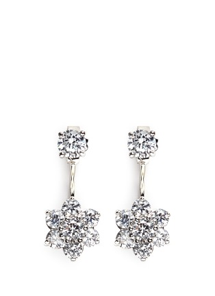 Main View - Click To Enlarge - CZ by Kenneth Jay Lane - Cubic zirconia floral drop stud earrings