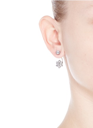 Figure View - Click To Enlarge - CZ by Kenneth Jay Lane - Cubic zirconia floral drop stud earrings