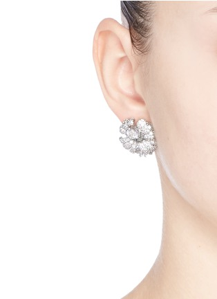 Figure View - Click To Enlarge - CZ by Kenneth Jay Lane - Cubic zirconia pavé floral stud earrings