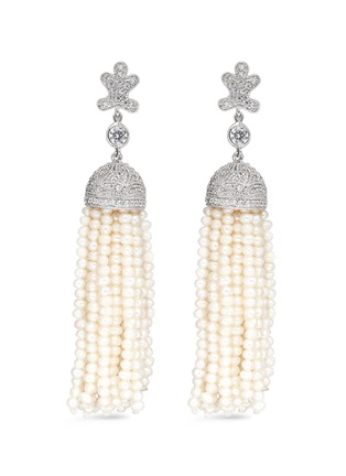 Main View - Click To Enlarge - CZ by Kenneth Jay Lane - Freshwater pearl Cubic zirconia tassel earrings