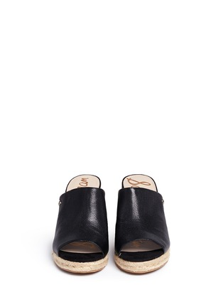 Front View - Click To Enlarge - Sam Edelman - 'Bonnie' leather espadrille wedge mule sandals