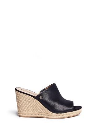 Main View - Click To Enlarge - Sam Edelman - 'Bonnie' leather espadrille wedge mule sandals