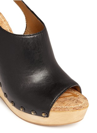 Detail View - Click To Enlarge - SAM EDELMAN - 'Camilla' wooden wedge leather slingback sandals