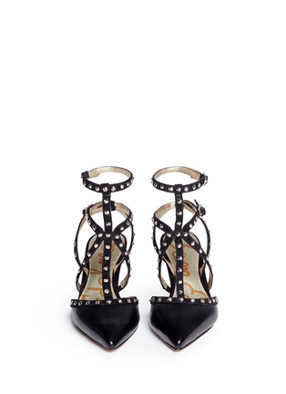 Front View - Click To Enlarge - Sam Edelman - 'Ocie' stud suede caged leather pumps