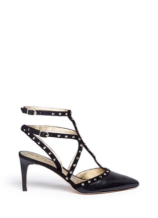Main View - Click To Enlarge - Sam Edelman - 'Ocie' stud suede caged leather pumps