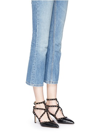 Figure View - Click To Enlarge - Sam Edelman - 'Ocie' stud suede caged leather pumps