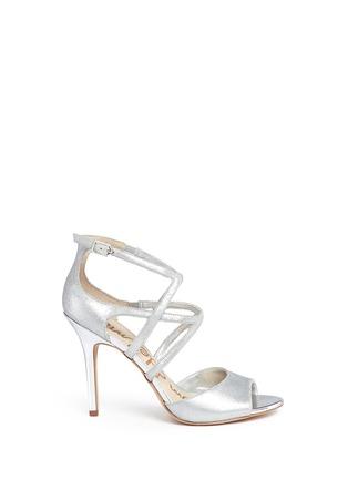 Main View - Click To Enlarge - Sam Edelman - 'Aeryn' metallic leather strappy sandals