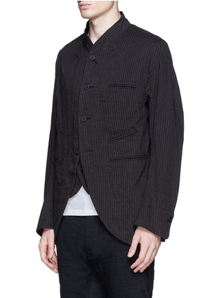 Front View - Click To Enlarge - Ziggy Chen - Double placket pinstripe cotton-linen blazer