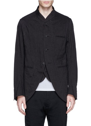 Main View - Click To Enlarge - Ziggy Chen - Double placket pinstripe cotton-linen blazer