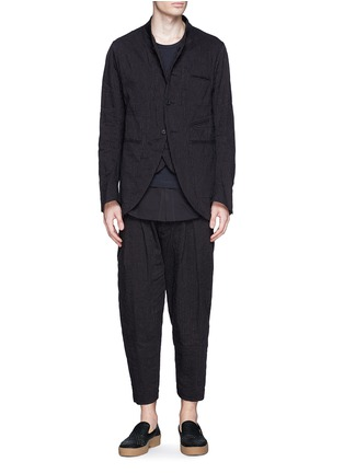 Figure View - Click To Enlarge - Ziggy Chen - Double placket pinstripe cotton-linen blazer