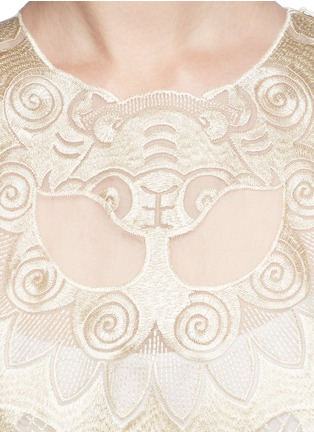 Detail View - Click To Enlarge - Ms MIN - Lion embroidery silk gauze top
