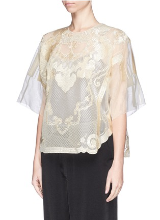 Front View - Click To Enlarge - Ms MIN - Lion embroidery silk gauze top