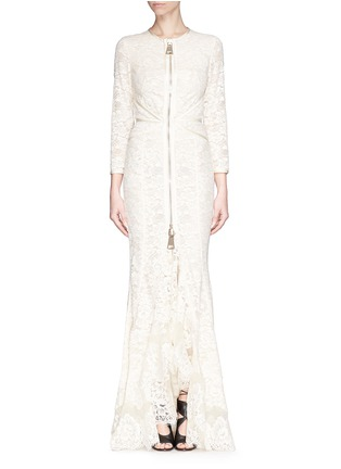 Main View - Click To Enlarge - GIVENCHY - Lace cascade ruffle zip gown