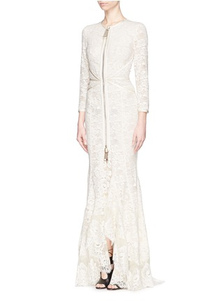 Figure View - Click To Enlarge - GIVENCHY - Lace cascade ruffle zip gown