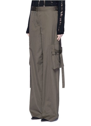 Front View - Click To Enlarge - Helmut Lang - Belted side cotton poplin cargo pants