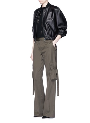 Figure View - Click To Enlarge - Helmut Lang - Belted side cotton poplin cargo pants