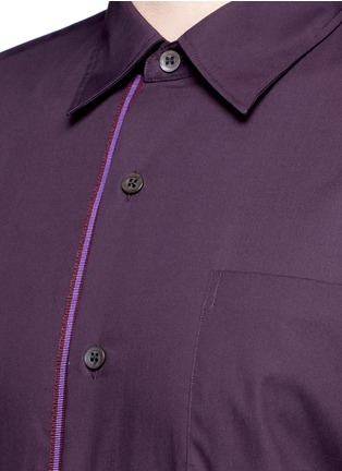 Detail View - Click To Enlarge - Dries Van Noten - 'Coen' placket trim bicolour cotton shirt