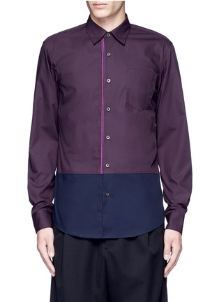 Main View - Click To Enlarge - Dries Van Noten - 'Coen' placket trim bicolour cotton shirt