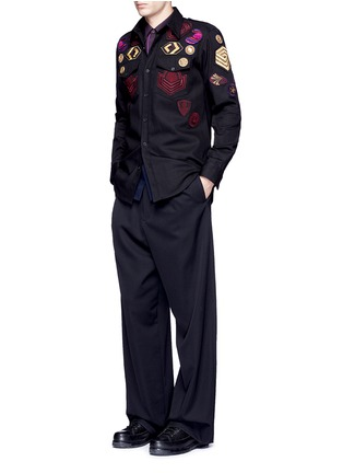Figure View - Click To Enlarge - Dries Van Noten - 'Coen' placket trim bicolour cotton shirt