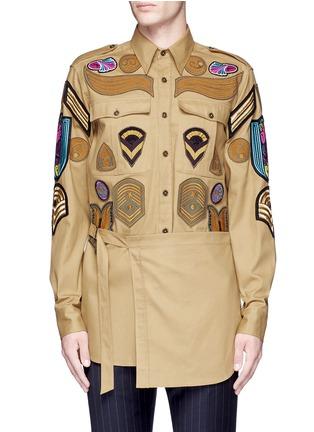 Main View - Click To Enlarge - Dries Van Noten - 'Cameron' military badge shirt