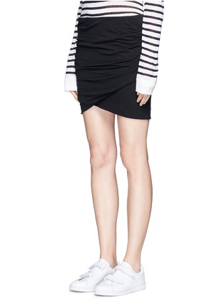 Front View - Click To Enlarge - JAMES PERSE - Shirred cotton jersey wrap mini skirt