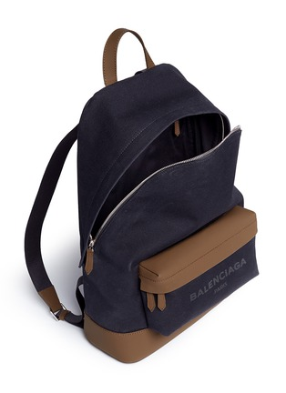 Detail View - Click To Enlarge - Balenciaga - Leather trim colourblock canvas backpack