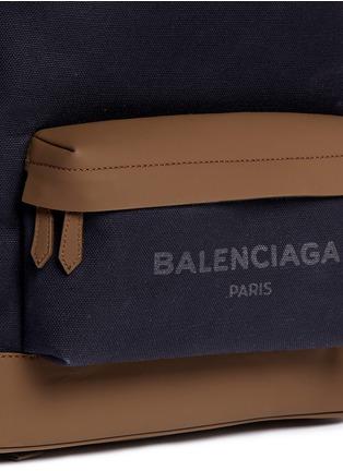 - Balenciaga - Leather trim colourblock canvas backpack