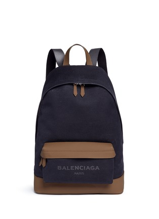 Main View - Click To Enlarge - Balenciaga - Leather trim colourblock canvas backpack