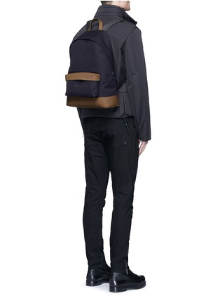 Figure View - Click To Enlarge - Balenciaga - Leather trim colourblock canvas backpack