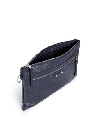 Detail View - Click To Enlarge - Balenciaga - 'Clip' medium matte leather zip pouch