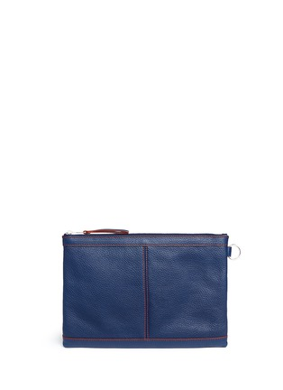 Back View - Click To Enlarge - BALENCIAGA - 'Clip' contrast stitch medium leather zip pouch